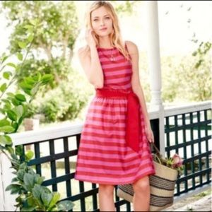 Garnet Hill Pink Cotton Striped Fit & Flare Dress